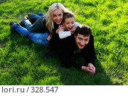 Купить «Счастливая семья на природе», фото № 328547, снято 21 февраля 2018 г. (c) Гладских Татьяна / Фотобанк Лори