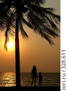 Купить «Мама с сыном на закате. Пейзаж», фото № 328611, снято 21 февраля 2018 г. (c) Гладских Татьяна / Фотобанк Лори