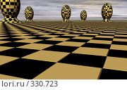 Купить «Клетчатые сферы на абстрактном шахматном поле на фоне облаков», иллюстрация № 330723 (c) Валерий Воронин / Фотобанк Лори