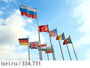 Российский флаг и флаги других государств. Стоковое фото, фотограф Дмитрий Яковлев / Фотобанк Лори
