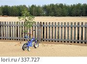 Купить «Детский велосипед у палисадника», фото № 337727, снято 8 июня 2008 г. (c) Круглов Олег / Фотобанк Лори