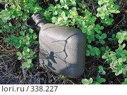 Купить «Пластиковая фляжка среди брусничных листьев», фото № 338227, снято 21 июня 2008 г. (c) Круглов Олег / Фотобанк Лори