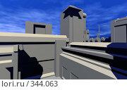 Купить «Абстрактный городской пейзаж на фоне голубого неба с облаками», иллюстрация № 344063 (c) Валерий Воронин / Фотобанк Лори