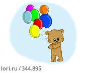 Купить «Медвежонок держит разноцветные воздушные шарики», иллюстрация № 344895 (c) Лена Кичигина / Фотобанк Лори