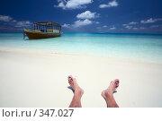 Купить «Отдых моряка на пляже, Мальдивы», фото № 347027, снято 18 августа 2018 г. (c) М / Фотобанк Лори