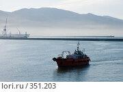 Купить «Утренний туман в порту города Новороссийска», фото № 351203, снято 3 июля 2008 г. (c) Федор Королевский / Фотобанк Лори