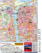 Туристическая карта центра Праги. Стоковое фото, фотограф Андрей Толстик / Фотобанк Лори