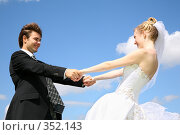 Купить «Невеста и жених, на фоне неба», фото № 352143, снято 19 августа 2018 г. (c) Losevsky Pavel / Фотобанк Лори