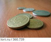 Купить «Евро центы», фото № 360739, снято 17 июля 2008 г. (c) Эдуард Кольга / Фотобанк Лори