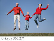 Купить «Семья в прыжке», фото № 366271, снято 15 ноября 2019 г. (c) Losevsky Pavel / Фотобанк Лори