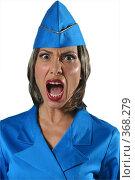 Купить «Женщина в униформе кричит», фото № 368279, снято 17 августа 2018 г. (c) Марианна Меликсетян / Фотобанк Лори