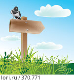Указатель пути и серая ворона на нем. Стоковая иллюстрация, иллюстратор Катыкин Сергей / Фотобанк Лори