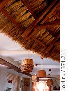 Купить «Интерьер помещения с соломенной крышей», фото № 371211, снято 17 июля 2018 г. (c) Лямзин Дмитрий / Фотобанк Лори
