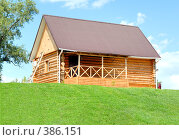 Купить «Сельский деревянный дом, сруб», фото № 386151, снято 5 июля 2008 г. (c) Денис Дряшкин / Фотобанк Лори