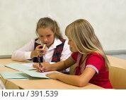 Купить «Ученицы на уроке в школе», фото № 391539, снято 19 августа 2007 г. (c) Татьяна Белова / Фотобанк Лори
