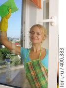 Купить «Девушка моет окно», фото № 400383, снято 11 августа 2007 г. (c) Гладских Татьяна / Фотобанк Лори
