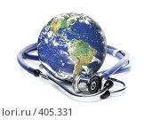 Купить «Глобус и стетоскоп на белом фоне», фото № 405331, снято 21 мая 2008 г. (c) Мельников Дмитрий / Фотобанк Лори