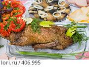 Купить «Утка гриль, украшенная овощами», фото № 406995, снято 18 апреля 2008 г. (c) Федор Королевский / Фотобанк Лори