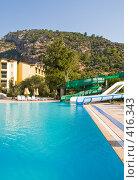 Купить «Отель. Бассейн на фоне гор», фото № 416343, снято 6 августа 2008 г. (c) Светлана Силецкая / Фотобанк Лори
