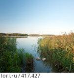 Купить «Пейзаж на исходе августовского дня с двумя камнями», фото № 417427, снято 19 августа 2008 г. (c) Виктор Пелих / Фотобанк Лори
