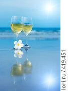 Купить «Два бокала белого вина», фото № 419451, снято 19 июля 2008 г. (c) Ольга Хорошунова / Фотобанк Лори