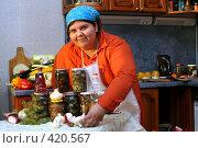 Купить «Домохозяйка в процессе заготовки грибов», эксклюзивное фото № 420567, снято 22 августа 2008 г. (c) Ирина Терентьева / Фотобанк Лори