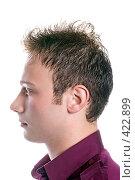 Купить «Портрет молодого мужчины на белом фоне  изолированно», фото № 422899, снято 6 июля 2008 г. (c) Сергей Сухоруков / Фотобанк Лори