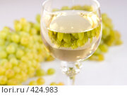 Купить «Гроздья винограда и белое вино в бокале», фото № 424983, снято 23 августа 2008 г. (c) Воробьева Анна / Фотобанк Лори