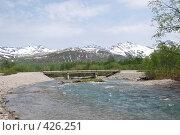 Купить «Мост через горную реку», фото № 426251, снято 15 июня 2008 г. (c) Евгений Слобоженюк / Фотобанк Лори