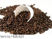 Купить «Чашка и рассыпанные зерна черного натурального кофе», фото № 428623, снято 28 августа 2008 г. (c) Кирилл Курашов / Фотобанк Лори