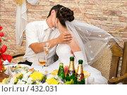 Купить «Свадьба. Молодожёны целуются.», фото № 432031, снято 23 августа 2008 г. (c) Федор Королевский / Фотобанк Лори