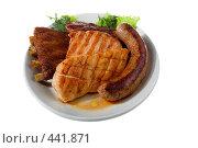 Купить «Жареное мясо и сосиски», фото № 441871, снято 21 мая 2008 г. (c) Коваль Василий / Фотобанк Лори