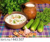 Купить «Суп таратор. Национальная болгарская кухня», фото № 443507, снято 6 сентября 2008 г. (c) Михаил Котов / Фотобанк Лори
