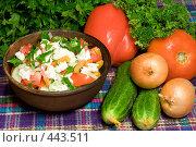 Купить «Шопский салат. Национальная болгарская кухня», фото № 443511, снято 6 сентября 2008 г. (c) Михаил Котов / Фотобанк Лори