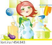 Купить «Женщина с поварешкой на кухне», иллюстрация № 454843 (c) Елисеева Екатерина / Фотобанк Лори