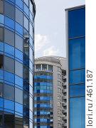 Купить «Зеркальные синие стены небоскребов (Екатеринбург)», фото № 461187, снято 8 июля 2008 г. (c) Дмитрий Яковлев / Фотобанк Лори