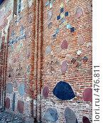 Кирпичная стена Коложской церкви в Гродно, Беларусь. Стоковое фото, фотограф Римма Радшун / Фотобанк Лори