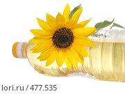 Купить «Подсолнух и бутылка подсолнечного масла», фото № 477535, снято 9 сентября 2008 г. (c) Cветлана Гладкова / Фотобанк Лори