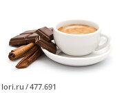 Купить «Чашка с горячим кофе, шоколад и палочки корицы», фото № 477691, снято 12 сентября 2008 г. (c) Лисовская Наталья / Фотобанк Лори