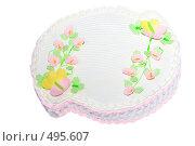 Купить «Подарочный торт с цветами из марципана», фото № 495607, снято 3 октября 2008 г. (c) Анна Мегеря / Фотобанк Лори