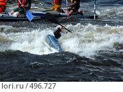 Купить «Каяк в пороге на бурной реке», фото № 496727, снято 28 июня 2008 г. (c) Комаров Константин / Фотобанк Лори
