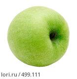 Зеленое яблоко на белом фоне. Стоковое фото, фотограф Сергей Усс / Фотобанк Лори