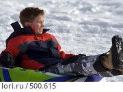 Купить «Подросток на надувных санках», фото № 500615, снято 22 декабря 2007 г. (c) Наталья Герасимова / Фотобанк Лори