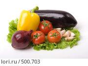 Купить «Овощи на листе салата», фото № 500703, снято 16 апреля 2008 г. (c) Ольга К. / Фотобанк Лори