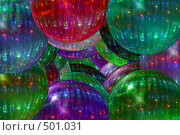 Купить «Разноцветные стеклянные новогодние шары», иллюстрация № 501031 (c) Владимир Сергеев / Фотобанк Лори