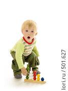 Купить «Годовалый малыш с развивающей игрушкой», фото № 501627, снято 8 октября 2008 г. (c) Лисовская Наталья / Фотобанк Лори