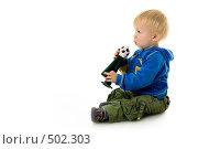 Купить «Годовалый малыш с горном футбольного болельщика», фото № 502303, снято 8 октября 2008 г. (c) Лисовская Наталья / Фотобанк Лори