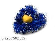 Купить «Елочное украшение и мишура в виде сердца», фото № 502335, снято 15 ноября 2018 г. (c) Дианова Елена / Фотобанк Лори