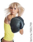 Купить «Девушка в боксерских перчатках», фото № 503719, снято 16 сентября 2008 г. (c) hunta / Фотобанк Лори