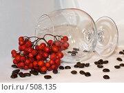 Купить «Прозрачный бокал на белом фоне с зернами кофе и гроздью красной рябины», фото № 508135, снято 12 октября 2008 г. (c) Кузнецов Дмитрий / Фотобанк Лори